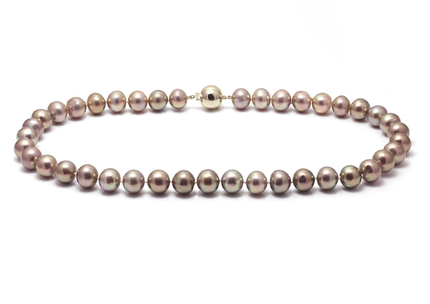 Natural colour nucleated river pearl necklace with a yellow gold ball clasp