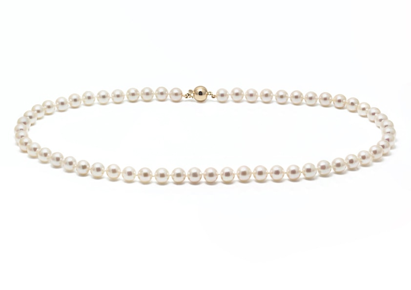 AAA Akoya cultured pearl necklace with a yellow gold ball clasp