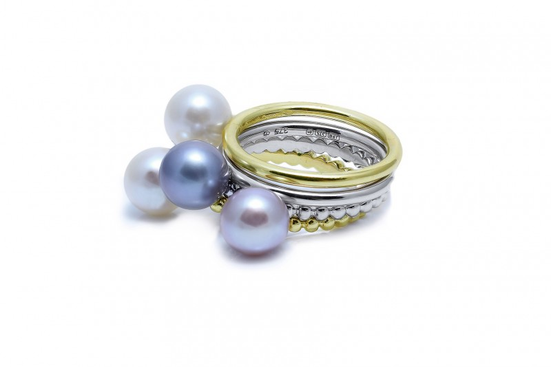 Stack of our cultured river pearl rings